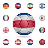 National football ball of Costa Rico. Detailed set of national soccer balls. Premium graphic design. One of the collection icons. For websites, web design stock illustration