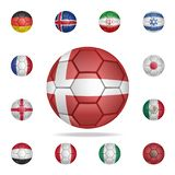 National football ball of Denmark. Detailed set of national soccer balls. Premium graphic design. One of the collection icons for. Websites, web design, mobile royalty free illustration