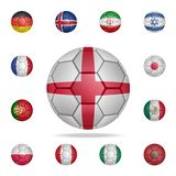National football ball of England. Detailed set of national soccer balls. Premium graphic design. One of the collection icons for. Websites, web design, mobile stock illustration