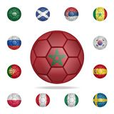 National football ball of Morocco. Detailed set of national soccer balls. Premium graphic design. One of the collection icons for. Websites, web design, mobile royalty free illustration