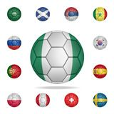 National football ball of Nigeria. Detailed set of national soccer balls. Premium graphic design. One of the collection icons for. Websites, web design, mobile vector illustration