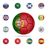 National football ball of Portugal. Detailed set of national soccer balls. Premium graphic design. One of the collection icons for. Websites, web design, mobile stock illustration
