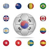 National football ball of South Korea. Detailed set of national soccer balls. Premium graphic design. One of the collection icons. For websites, web design royalty free illustration