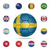 National football ball of Sweden. Detailed set of national soccer balls. Premium graphic design. One of the collection icons for. Websites, web design, mobile vector illustration