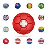 National football ball of Switzerland. Detailed set of national soccer balls. Premium graphic design. One of the collection icons. For websites, web design stock illustration
