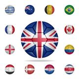 National football ball of UK. Detailed set of national soccer balls. Premium graphic design. One of the collection icons for. Websites, web design, mobile app stock illustration