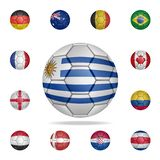 National football ball of Uruguay. Detailed set of national soccer balls. Premium graphic design. One of the collection icons for. Websites, web design, mobile vector illustration
