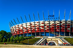 National football stadium of poland in Warsaw. Sunny summer day with a blue sky and green trees. Royalty Free Stock Photography