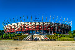 National football stadium of poland in Warsaw. Sunny summer day with a blue sky and green trees. Stock Image