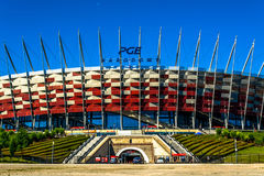 National football stadium of poland in Warsaw. Sunny summer day with a blue sky and green trees. Warsaw, Poland – July 16, 2017: National football stadium of Stock Photo