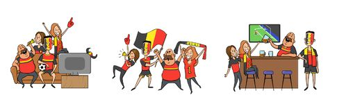 National football team supporters cheering at home, in the bar together. Set of football fans with national attributes stock illustration