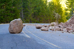 Landslide Blocked Road Royalty Free Stock Image