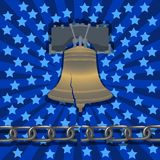 National Freedom Day. Liberty Bell, broken chain, stars and rays on the background royalty free illustration