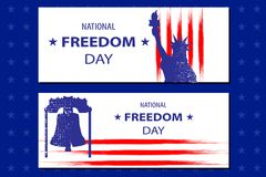National Freedom Day Illustration with the Statue of Libertyll and the Liberty bell. Poster or banners template - February 1st. USA flag lines as background Royalty Free Stock Photos