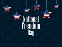 National freedom day, 1st of February. Hanging stars. With flag usa. Celebration banner. Slavery Abolition. Vector illustration Stock Photography