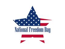 National freedom day, 1st of February. Star with flag usa.  Stock Image