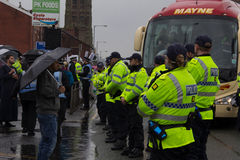 National Front Demonstration with large police presence Royalty Free Stock Photo