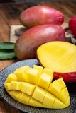 National fruit of India, Pakistan, and Philippines tropical organic ripe red mango ready to eat. Close up royalty free stock images