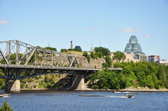 National Gallery and Alexandra Bridge, Ottawa royalty free stock images