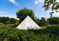 National Gallery of Art Sculpture Garden. Four sided pyramid by Sol Lewitt Royalty Free Stock Photos
