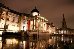 National Gallery bij Nacht Stock Afbeeldingen