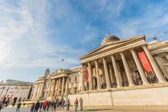 National Gallery building at Trafalgar square. London, UK - March 2, 2016: National Gallery building at Trafalgar square with people in London, UK. Founded in royalty free stock image