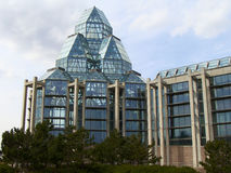 National Gallery of Canada. Glass pyramids of National Gallery of Canada in early spring Royalty Free Stock Images
