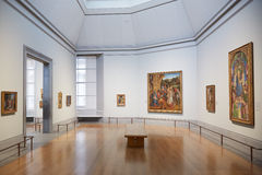National Gallery empty rooms in London. LONDON - AUGUST 6: National Gallery empty rooms on August 6, 2015 in London, UK. The museum was founded in 1824 and hosts Stock Photo