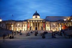 National Gallery en Londres por noche Imagen de archivo libre de regalías