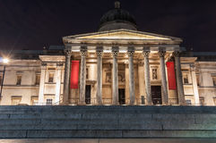 The National Gallery entrance in London at night Stock Photography