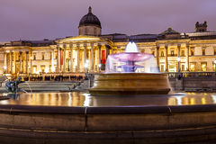 National Gallery and Fountain Night Shot, London, UK Stock Images