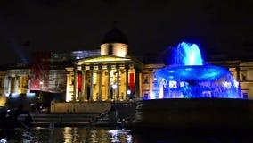 National Gallery i Trafalgar kwadrat przy nocą w Londyn, UK zbiory wideo