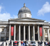 National Gallery in London. National Gallery in Trafalgar Square with Tourists on June 15, 2012 in London, England Stock Photos