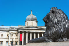 National Gallery London with bronze lion Stock Photography