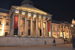 The National Gallery - London UK. Great night scene of the National Gallery in Trafalgar Square London Stock Images