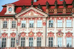National Gallery of Prague. At Prague, Czech Republic - On 07/23/2015 - rococo  facade of Kinsk� Palace,  In Old Town Square, wich houses the National Gallery Stock Image