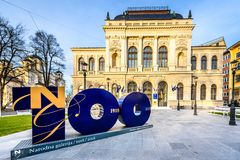 National Gallery of Slovenia in Ljubljana on 100th anniversary. The building of National Gallery of Slovenia with 100th anniversary sign in front. Narodna royalty free stock images