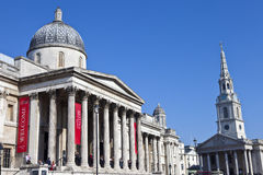National Gallery and St Martin in the Fields. The National Gallery and St Martin in the Fields church in London Stock Image