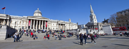 National Gallery and St Martin in the Fields. A panoramic view of the National Gallery and St Martin in the Fields church in London Royalty Free Stock Images