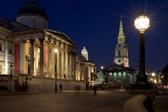 National Gallery and St Martin's-in-the-Fields. The National Gallery and St Martin's-in-the-Fields Church, London Royalty Free Stock Image