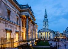 National Gallery T, rafalgar fyrkant, London - UK arkivfoto