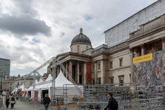 The National Gallery on Trafalgar Square, London, England, United Kingdom. LONDON, ENGLAND - JUNE 16 2016: The National Gallery on Trafalgar Square, London Royalty Free Stock Images