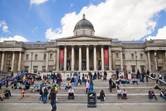 National Gallery and Trafalgar Square with lots of tourists Royalty Free Stock Photography