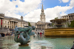 National Gallery and Trafalgar Square with lots of tourists Royalty Free Stock Image