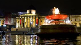 National Gallery and Trafalgar Square at night stock video