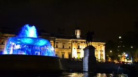 National Gallery and Trafalgar Square at night in London, UK stock video