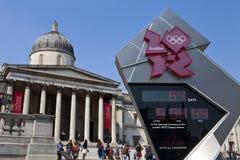 National Gallery und olympische Count-down-Borduhr lizenzfreie stockbilder