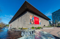 National Gallery of Victoria in Melbourne, Australia. The National Gallery of Victoria or NGV was founded in 1861.  It sits on busy St Kilda Road in Melbourne Stock Photo