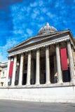 National Gallery in Vierkant Trafalgar Londen, het UK Stock Foto's