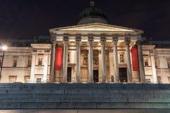 National Gallery wejście w Londyn przy nocą Fotografia Stock